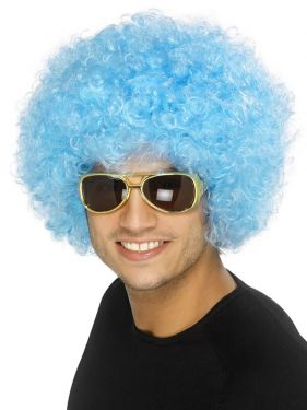 1970s Unisex Funky Afro Crazy Clown Wig - Blue